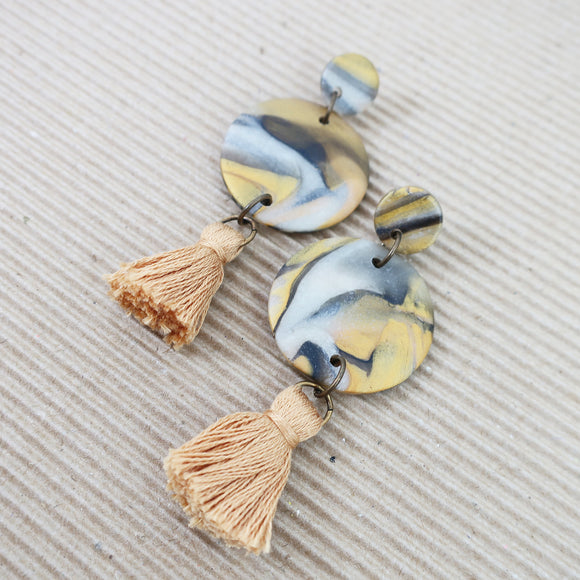 Marble Mustard Tassel Clay Earrings