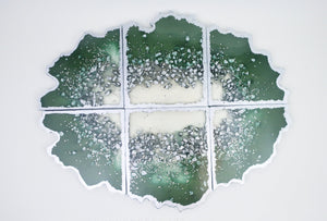 "Resin Geode Coaster Set ""Emerald and Silver"" - 6 coasters"