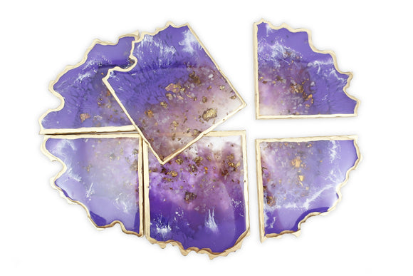 Amethyst Resin Geode Coaster Set - 6 coasters