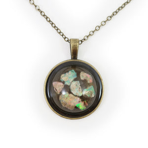Opal Fragments in Eco-Resin Raw Stone Necklace