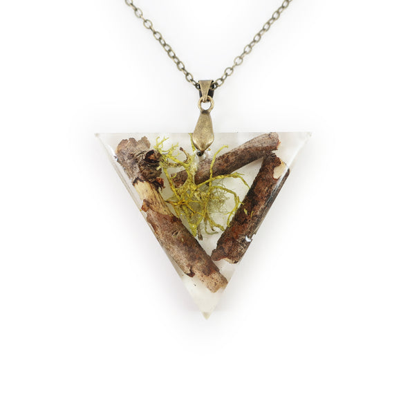 Large Twiggy Lichen Triangle Terrarium Necklace