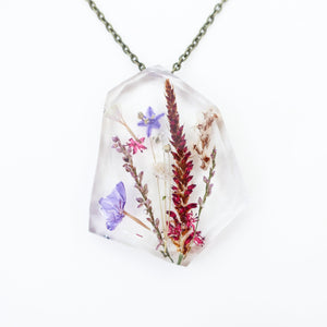 "Ladybird Collection - ""Abundance"" - Real Dried Flower Resin Necklace"