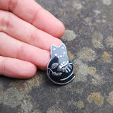 Plump Plant Kitty Enamel Pin - Silver or Gold
