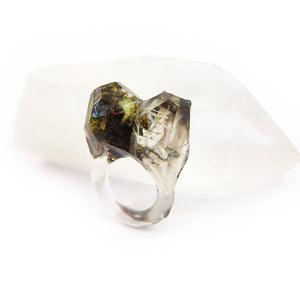 Smoke Lichen Resin Ring | Size 5 US