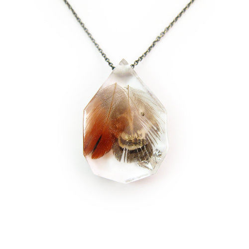 Feather in Resin and Silver Leaf Necklace