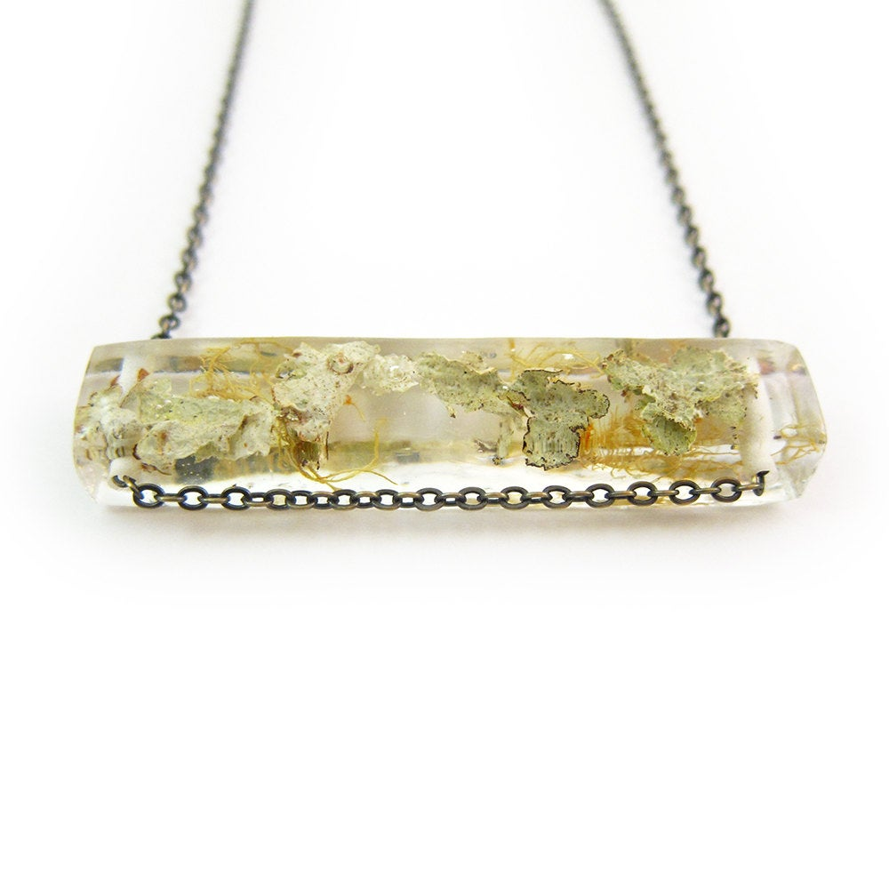 Terrarium Lichen Resin Side Bar Necklace