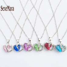 Top Selling Ladies Heart Crystal Pendant Necklace Available in 7 Colors