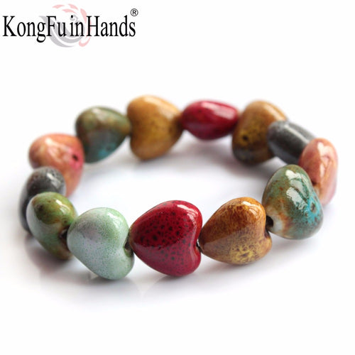 Hot Sale Heart Shaped Vintage Beads Lady Bracelet Bohemia Ceramic Stones Women Fashion Bangles