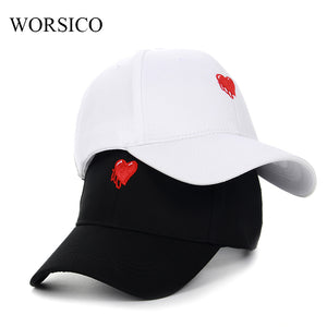 Women Cotton Love Heart Snapback Baseball Hats by Worisco