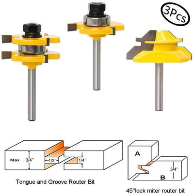 CraftsmanCapitol™ Premium Tongue and Groove Adjustable Router Bit with 45 Degree Lock Miter Router Bit Set - Craftsman Capitol
