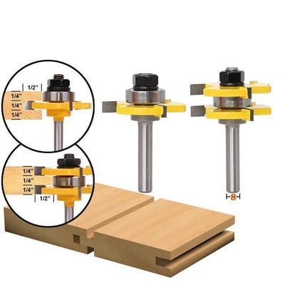 CraftsmanCapitol™ Premium Two Bit Tongue and Groove Router Bit Set - Craftsman Capitol