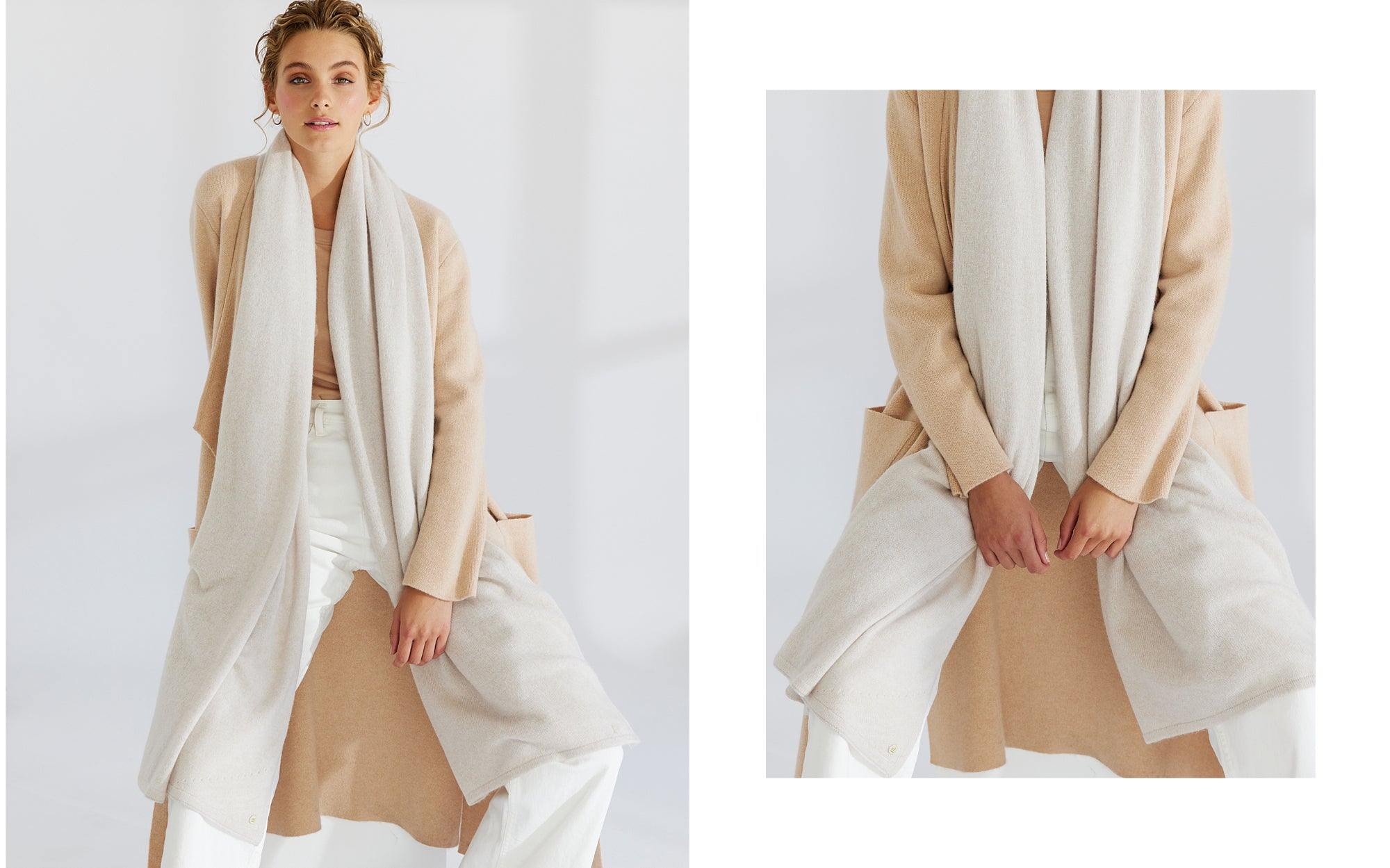 The Ada Lapel Coat and Pure Cashmere Travel Wrap featured in Mia Fratino's Fall/Winter 2021 campaign