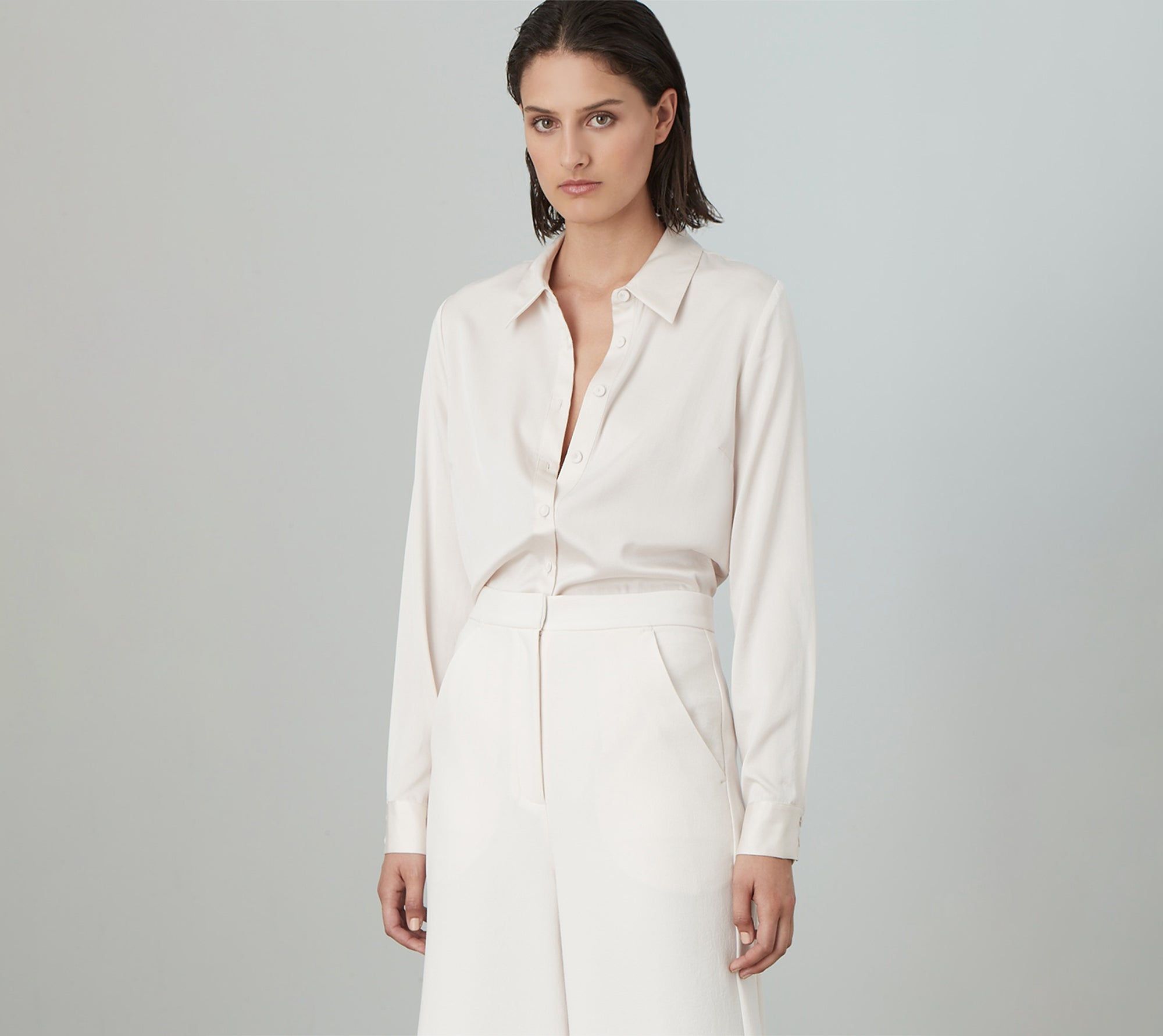 LUXE DELUXE Luxe Silk Classic Shirt in Chalk