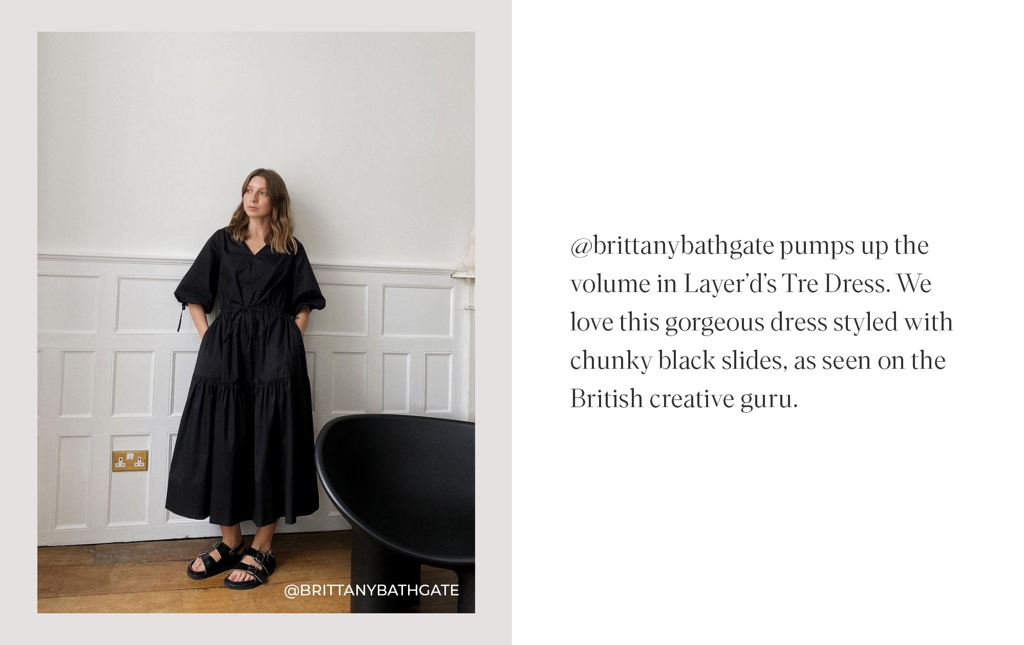 TRE DRESS IN PITCH BLACK AS SEEN ON BRITTANY BATHGATE