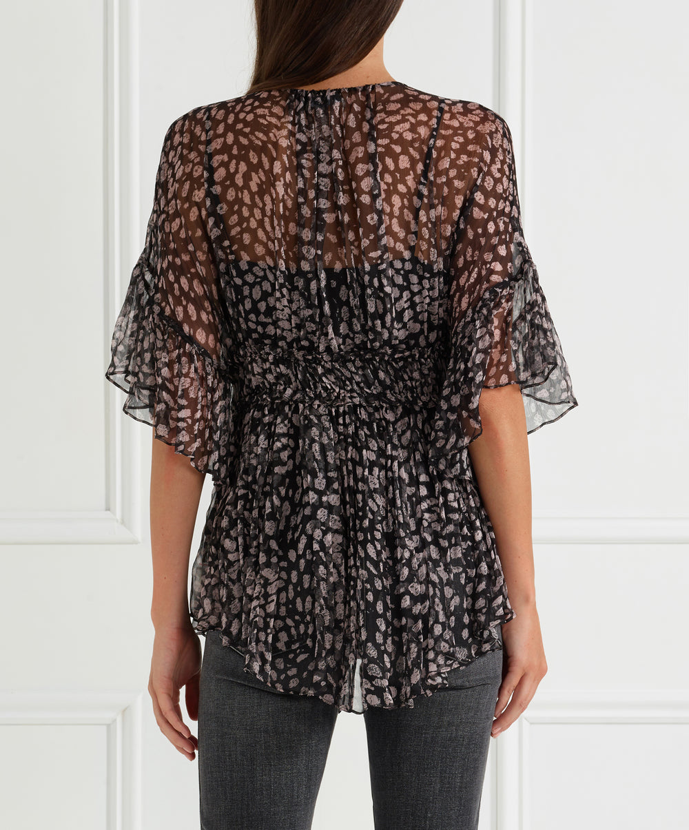 The Muse Silk Pleated Panel Top