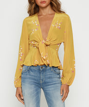 Load image into Gallery viewer, Heart Of Gold Tie Front Blouse