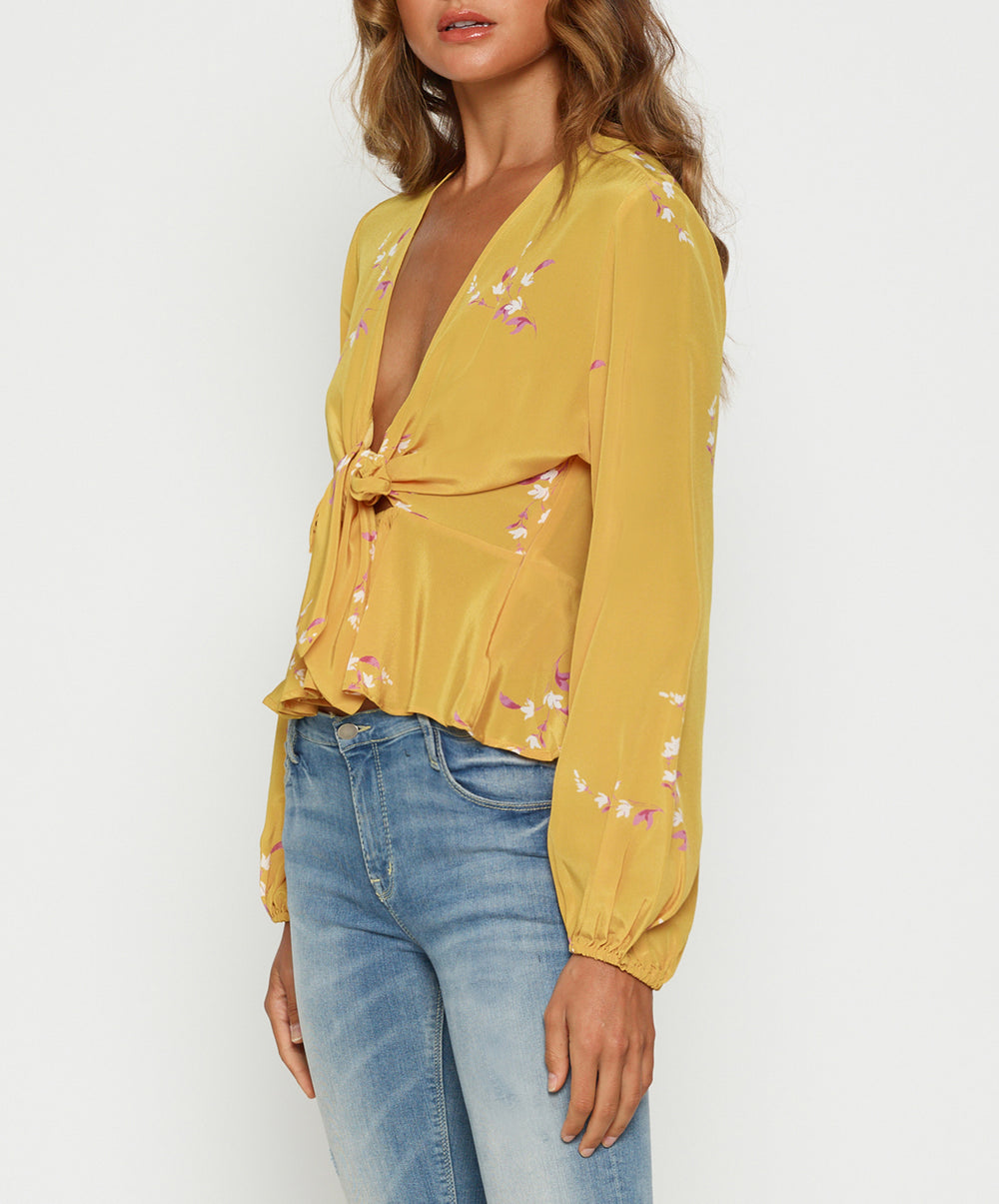 Heart Of Gold Tie Front Blouse