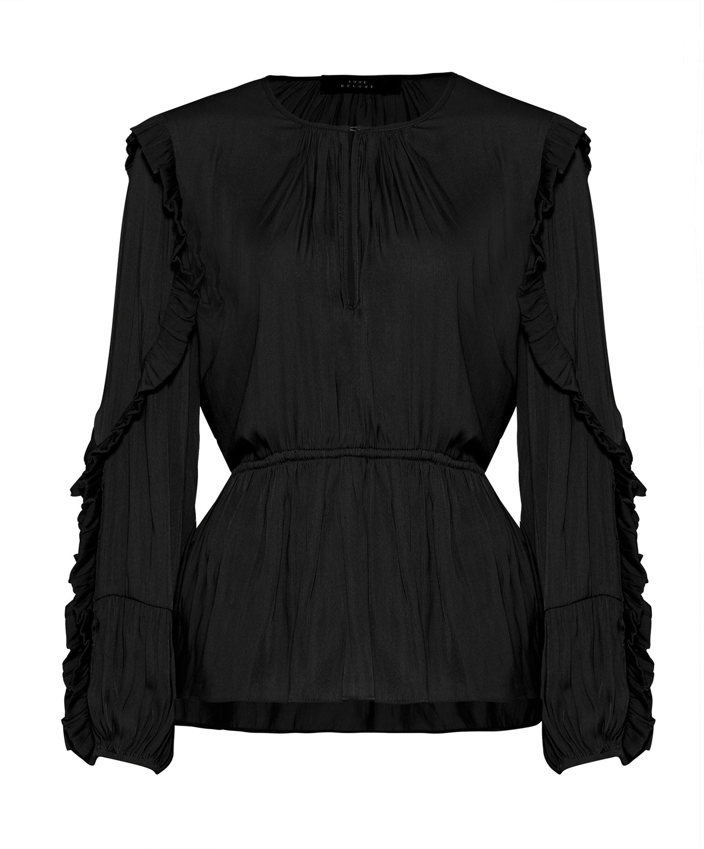 Look Twice Gathered Ruffle Sleeve L/S Blouse