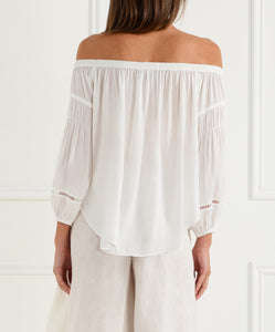 Look Twice Off Shoulder Balloon Sleeve Top