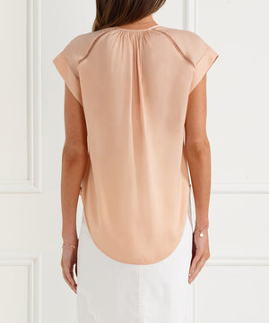Look Twice Gathered Neck Flutter Top