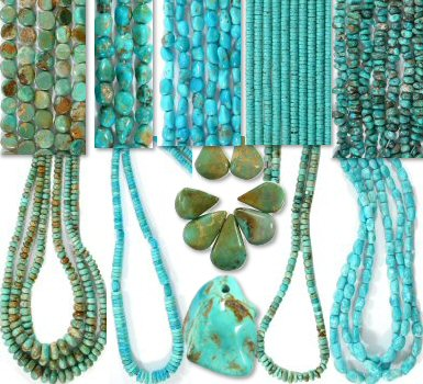 genuine turquoise beads, turquoise nugget strands and turquoise cabochons
