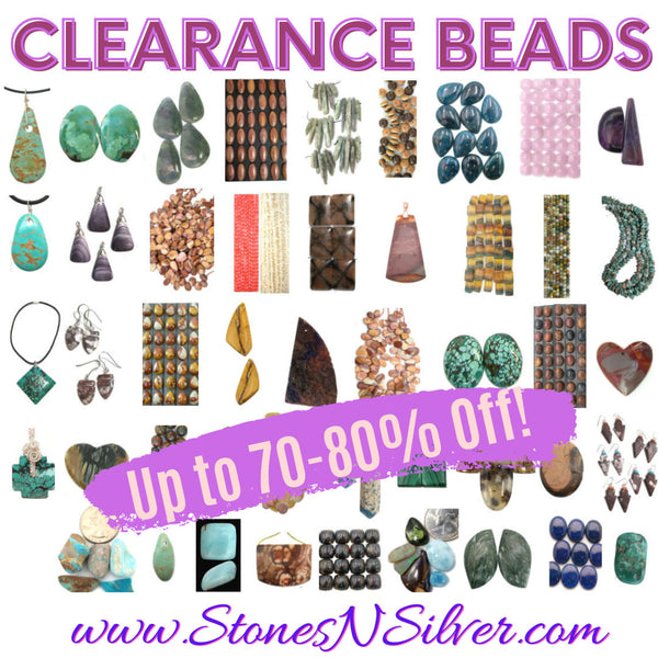 clearance beads and handmade jewelry at www.stonesnsilver.com