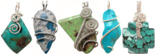 Artisan Wire Wrapped turquoise and gemstone pendants