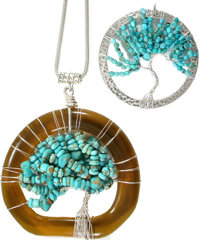 Tree of Life Pendants made from American Turquoise nugget chip beads from StonesNSilver.com