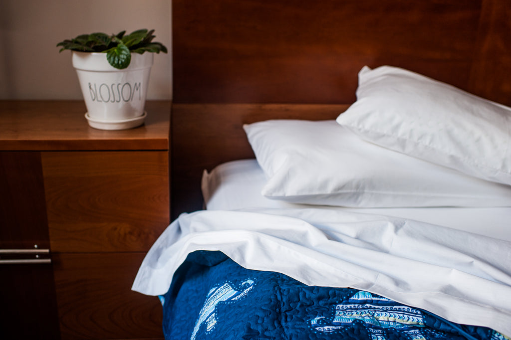 Bed Made with American Blossom Linens Organic Cotton Sheets Made in the USA