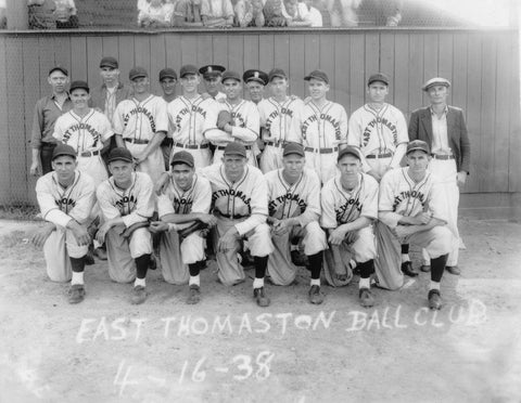 Picture of the East Thomaston Baseball Club from 1938