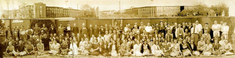 Old picture of Thomaston Mills workers outside of the Thomaston Mills Plant