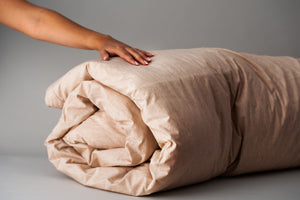 Organic Cotton Duvet Cover Rolled up with insert.