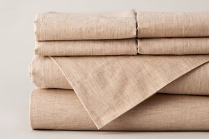 Organic Cotton Sheet Set folded and stacked.