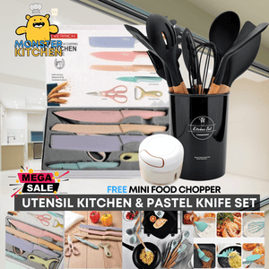 PanalongShopper.com Kitchen Knife & Utensil Set W/ Free Mini Food Chopper