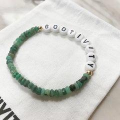 Godtivity Natural Emerald And 14k Gold Bracelet