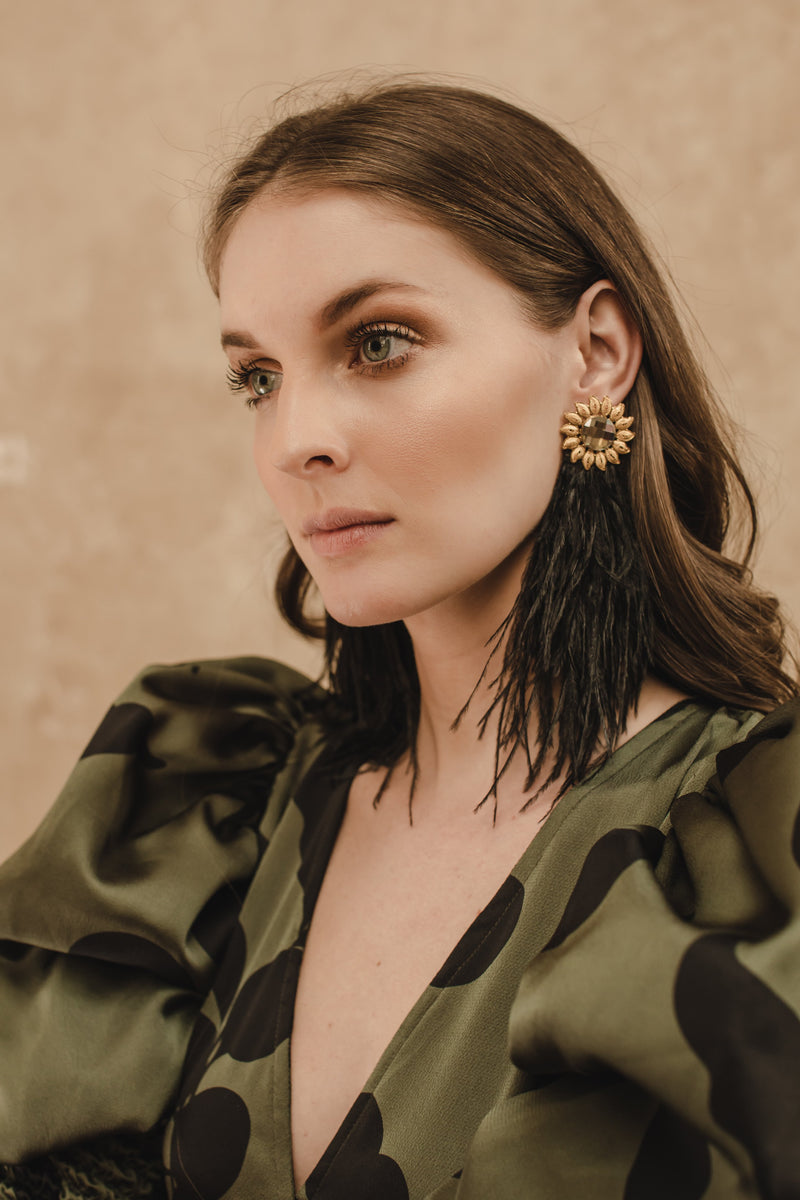 Gold-plated Swarovsky Feather Earrings