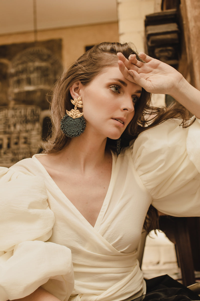 'Chequia' gold-plated earrings