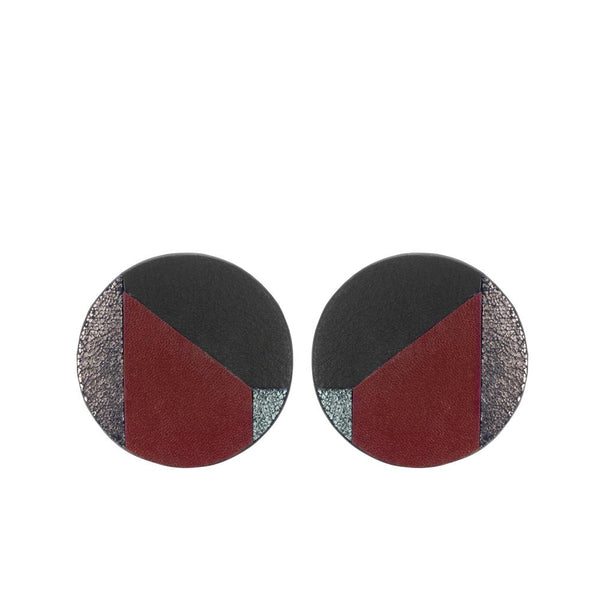Round patchwork earrings