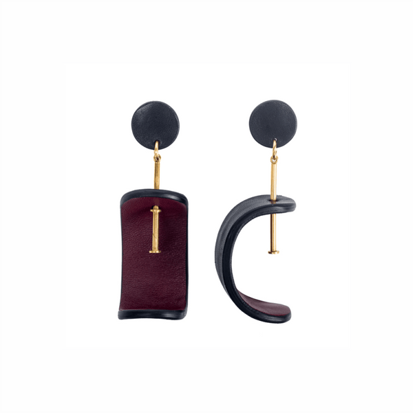 Tokyo Earrings in Burgundy/Black