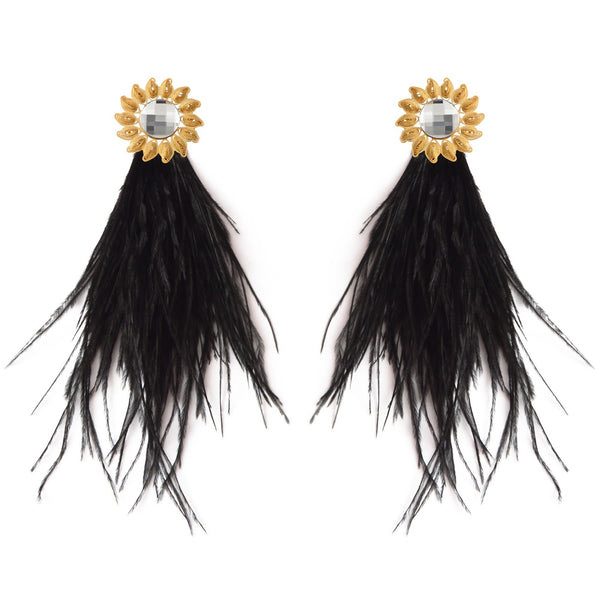 Gold-plated Swarovsky Feather Earrings - My Paloma