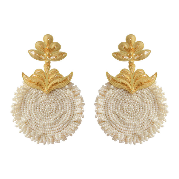 Cream Chequia gold-plated earrings
