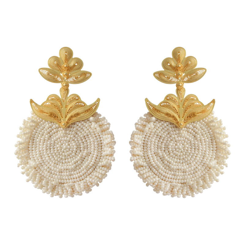 'Chequia' gold-plated earrings Cream - My Paloma