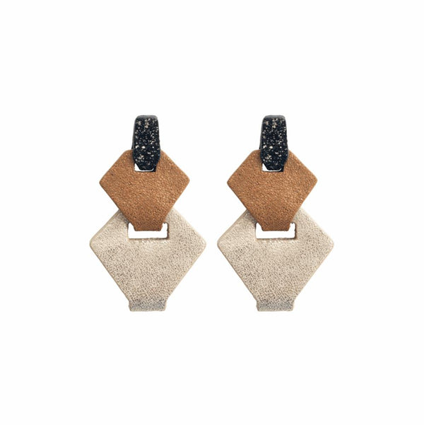 Link Leather Earrings in Gold