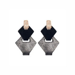 Link Leather Earrings in Silver/Black - My Paloma