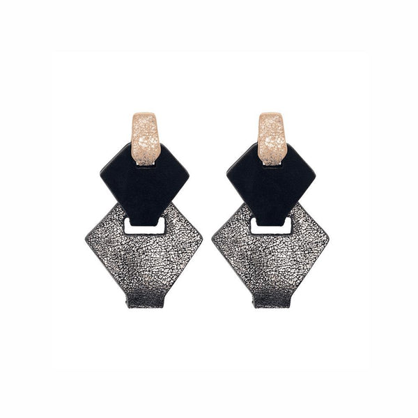 Link Leather Earrings in Silver/Black
