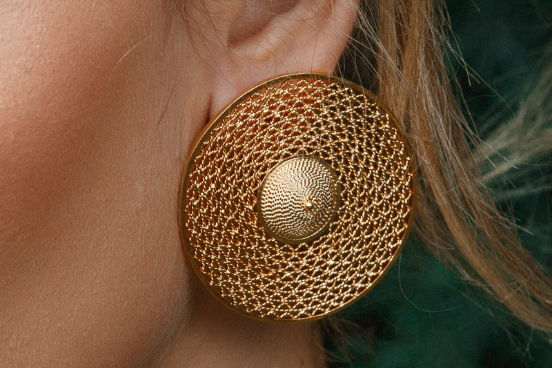 24 karat gold circular earrings