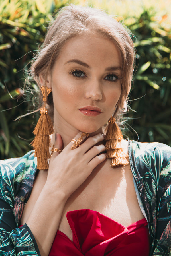 2 in 1 Tassel Earrings Tiered Thread in gold - My Paloma