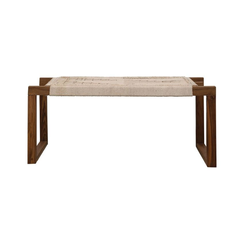 TEAK COTTON WOVEN BENCH
