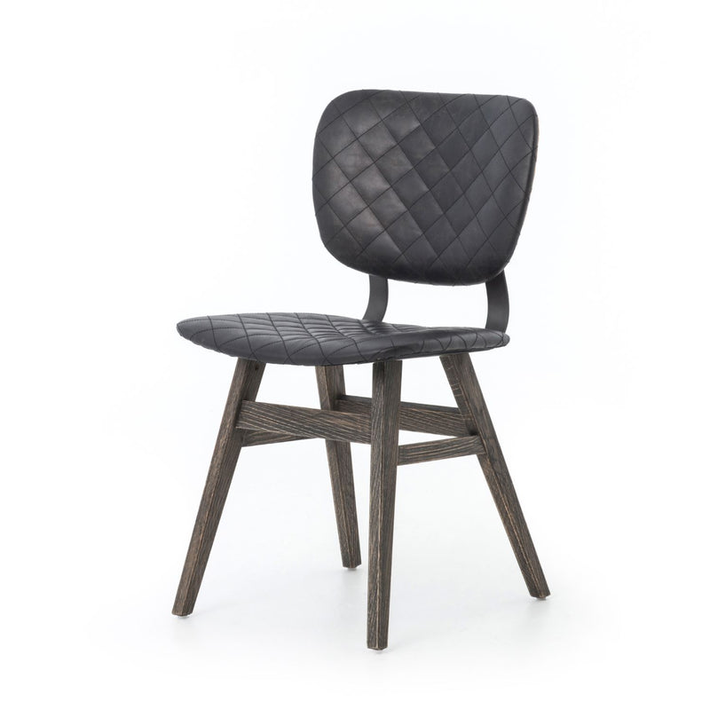 BILLIE QUILTED BLK LEATHER DINING CHAIR-Dining Chairs-Bridget's Room