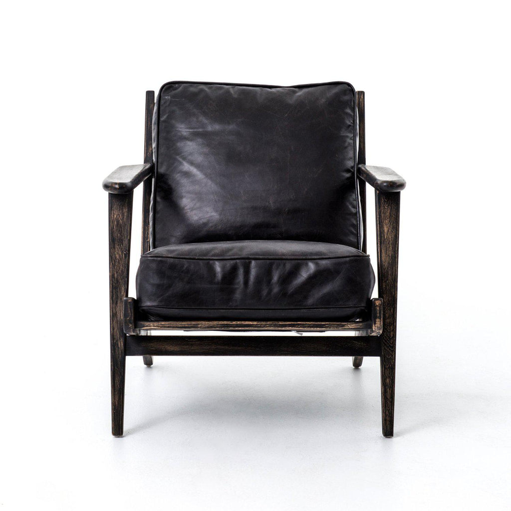 BRODIE O EBONY LEATHER LOUNGE CHAIR-Occasional Chairs-Bridget's Room